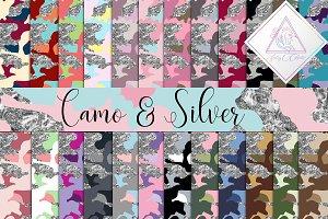 Camo & Silver Glitter Digital Paper