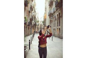 Beautiful Tourist Woman Taking a