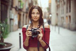 Beautiful Tourist Woman with Digital