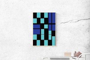 Blue and black geometric