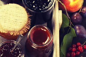 Fruit and berry jam and pieces of fr