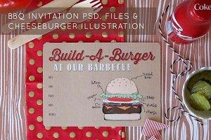 Hamburger drawing & BBQ invitation