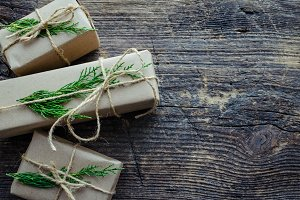 Christmas presents with natural