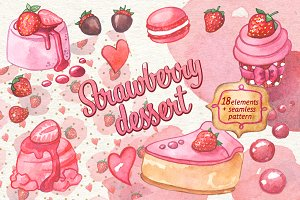 Strawberry dessert watercolor set