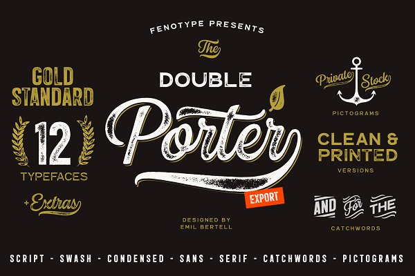 Fonts: Fenotype - Double Porter 12 FONTS + EXTRAS