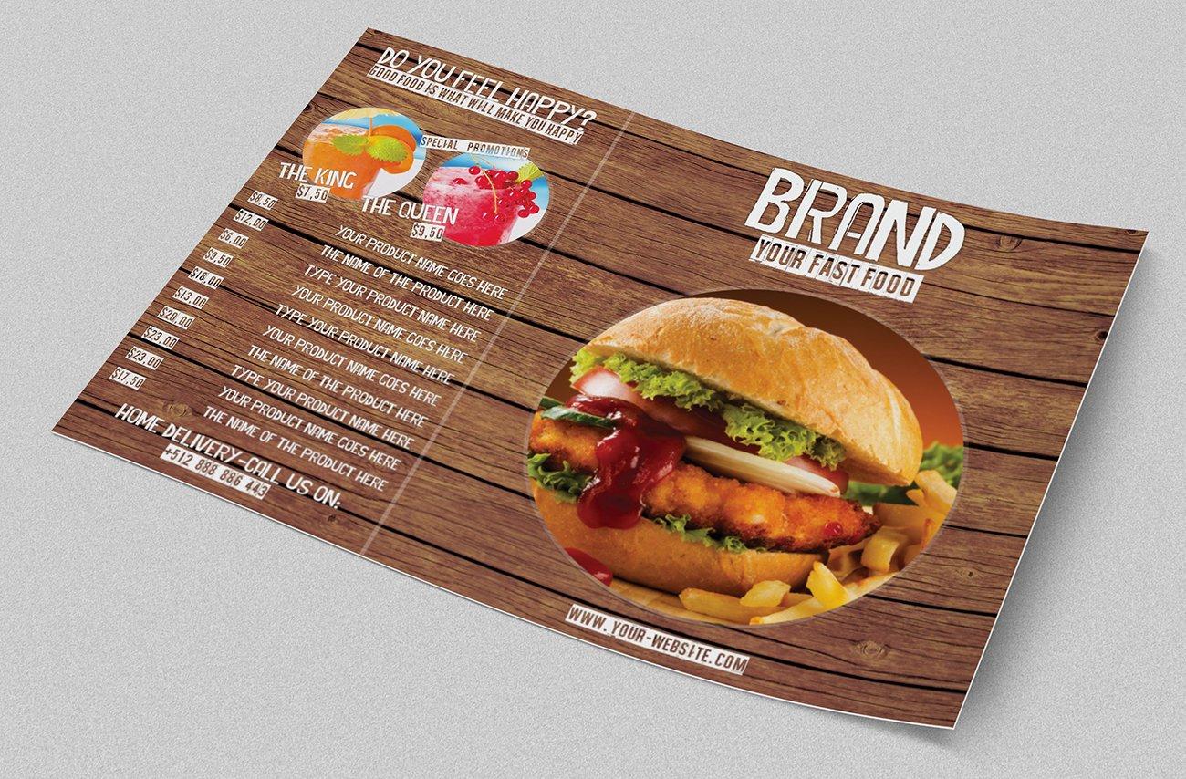 fast food menu template brochure templates creative market