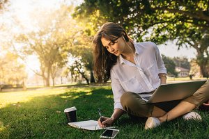 Freelancer woman working