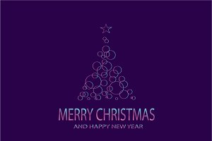 Merry Christmas tree purple