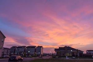 Sunset Over Suburban Neighborhood