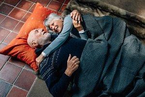 Senior couple sleeping together