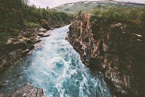Sweden landscape canyon river