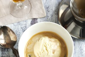 Coffee Ice Cream with cognac.