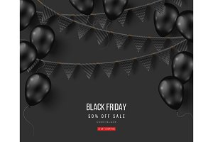 Black Friday balloons and garlands