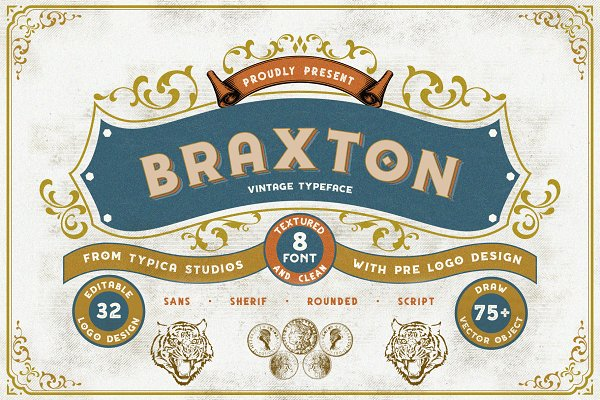Display Fonts: Typica Studio - Braxton Extra Pre LogoDesign