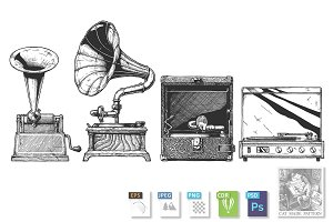 Phonograph and gramophone set