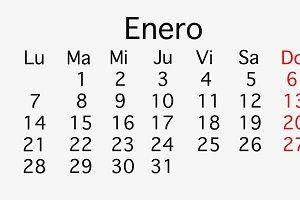 January 2019 planing Calendar