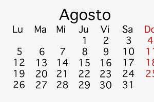 August 2019 planing Calendar