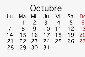 October 2019 planing Calendar