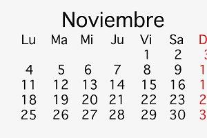 November 2019 planing Calendar
