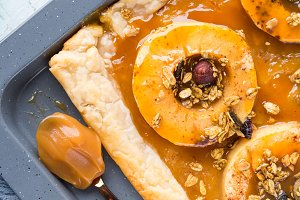 Apple pie on baking tray with