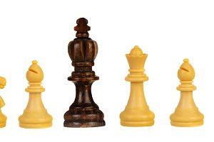 Black king between white chess piece