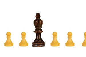 Black king with white pawns