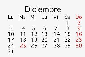 December 2018 planing Calendar.