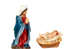 Scene of the nativity: Mary and the