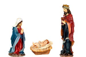 Scene of the nativity: Mary, Baby Je