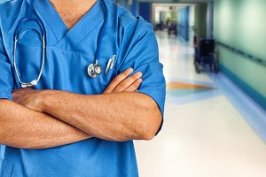 Nurse or doctor with blue jacket in