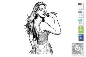 Vintage illustration of girl singer