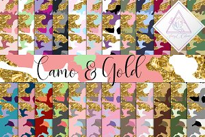 Camo & Gold Glitter Digital Paper