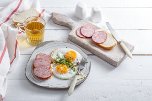 Fried eggs with sausage and toast on