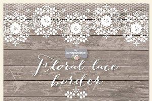 Floral lace border clipart/wood