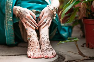 Mehendi heena on feet.