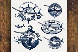 Vintage swordfish fishing emblems
