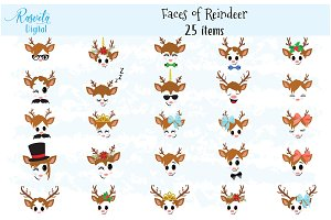 Reindeer Faces clip art set 2