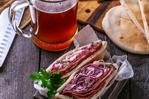 Pastrami with cabbage in pita bread