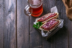Pastrami and coleslaw sandwich