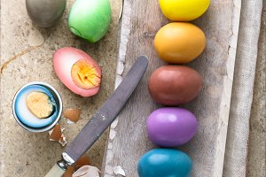 Peeled Colorful Easter eggs