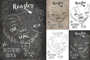 Rooster Butcher Cuts Set 1