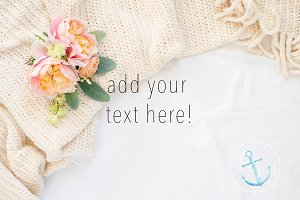 flowers, blanket styled stock photo