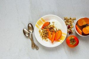 Granola with persimmon