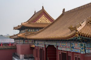 Details of roof and carvings in