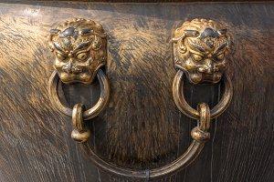 Lion handle on urn in Forbidden City