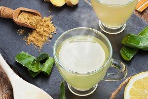 Drink with aloe vera and lemons