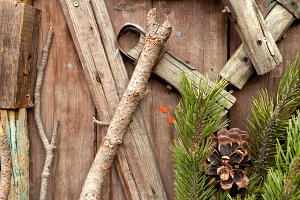 Christmas fir tree on a wooden backg