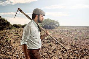 Farmer walking through the fields