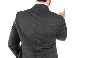 Young businessman turning his back t