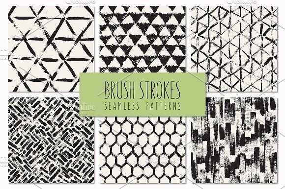 Brush Strokes. Seamless Patterns v.5 - Patterns